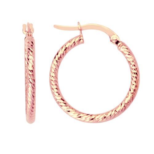 14kt Rose Gold 5/8in Diamond-cut Tube Hoop Earrings