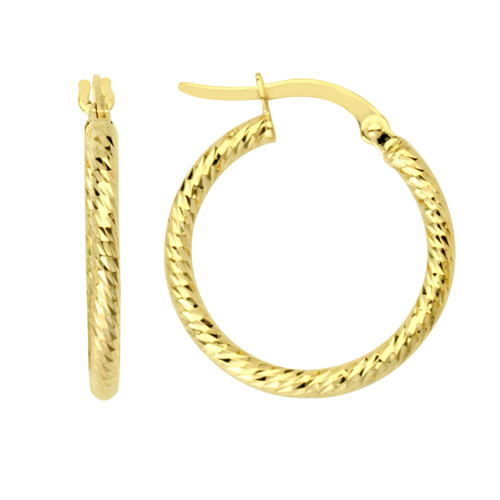 14kt Yellow Gold 5/8in Diamond-cut Tube Hoop Earrings