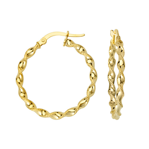 14kt Yellow Gold 1in Twisted Tube Hoop Earrings
