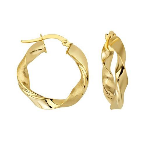 14kt Yellow Gold 3/4in Polished Twist Hoop Earrings 3mm
