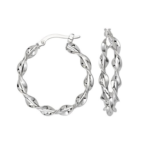 14kt White Gold 1in Polished Twist Hoop Earrings 3mm