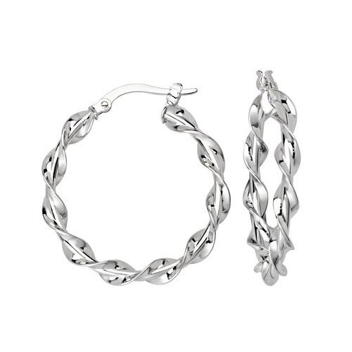 14kt White Gold 1in Polished Twist Hoop Earrings 3mm