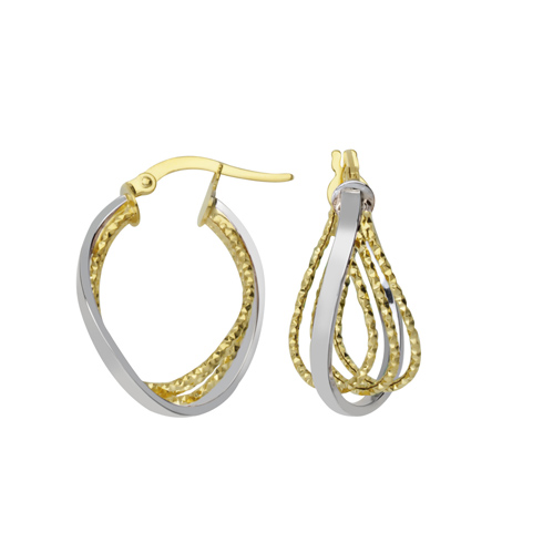 14kt Two-tone Gold 3/4in Inset Triple Loop Hoop Earrings