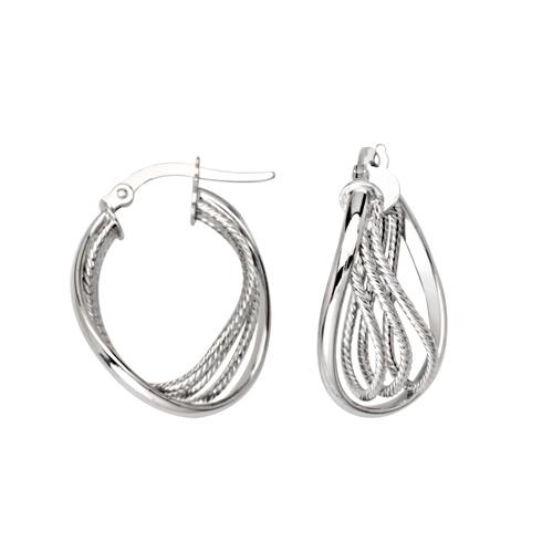 14kt White Gold 3/4in Inset Triple Loop Hoop Earrings
