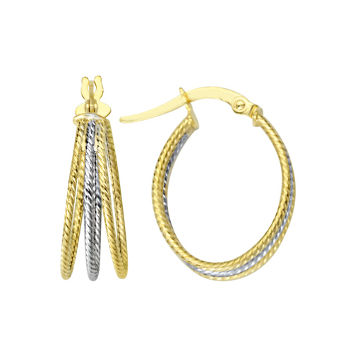 14kt Two-tone Gold 5/8in Triple Twisted Hoop Earrings