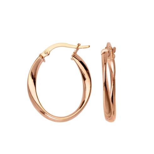 10kt Rose Gold 3/4in Fancy Oval Hoop Earrings