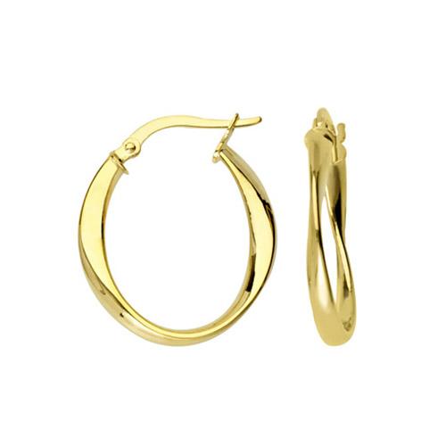 10kt Yellow Gold 3/4in Fancy Oval Hoop Earrings