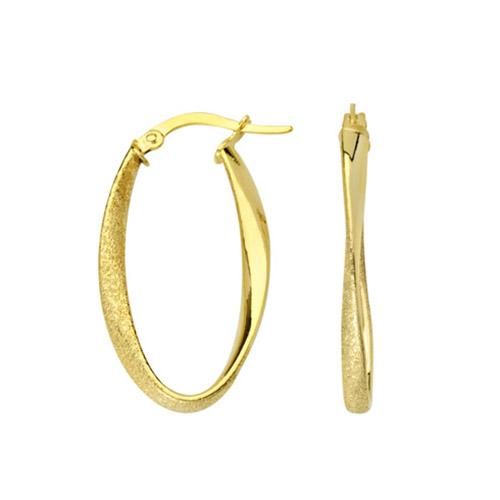 10kt Yellow Gold 1in Oval Laser Cut Hoop Earrings