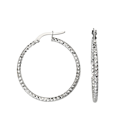 10kt White Gold 1in Diamond-cut In and Out Hoop Earrings