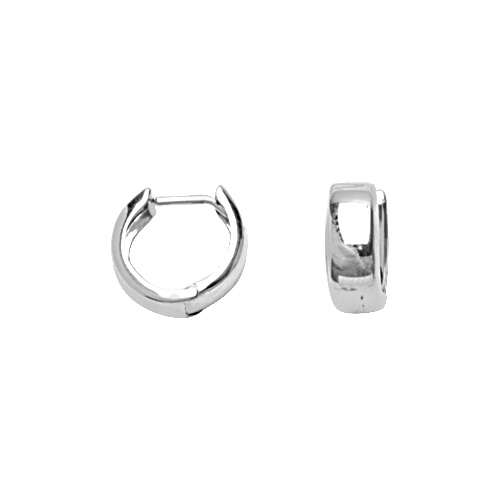 14kt White Gold 3/8in Huggie Earrings 4mm