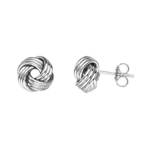 14kt White Gold Triple Tube Love Knot Earrings