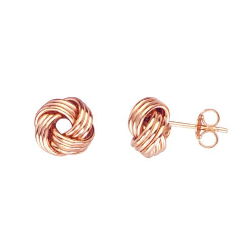14kt Rose Gold Triple Tube Love Knot Earrings