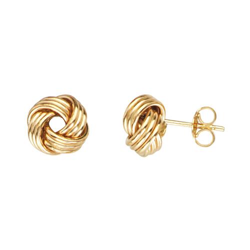 14kt Yellow Gold Triple Tube Love Knot Earrings