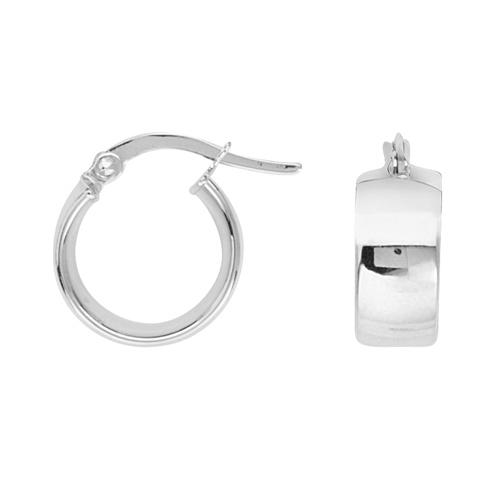 14kt White Gold 1/2in Huggie Hoop Earrings 5mm