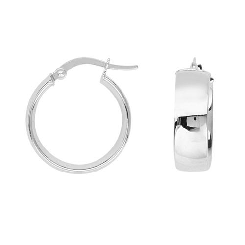14kt White Gold 3/4in Huggie Hoop Earrings 5mm
