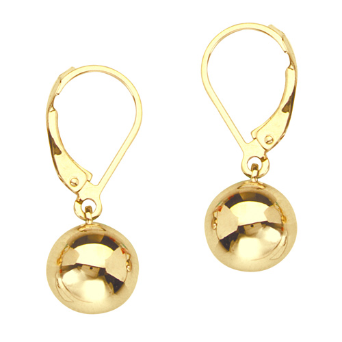 14kt Yellow Gold 7/8in Ball Dangle Lever Back Earrings