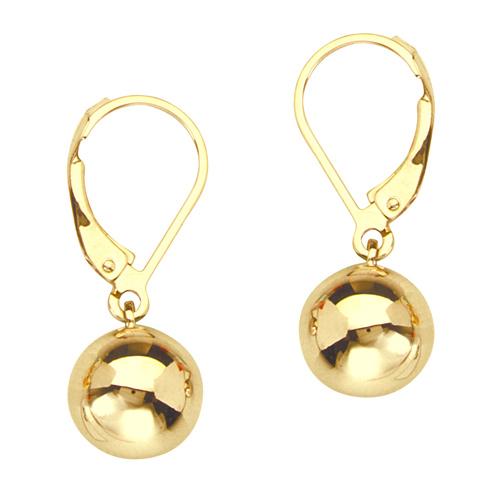 14kt Yellow Gold 7/8in Ball Dangle Lever Back Earrings