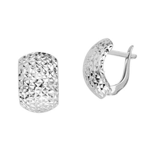 14kt White Gold 1/2in Diamond-cut Puffed Hinged Earrings