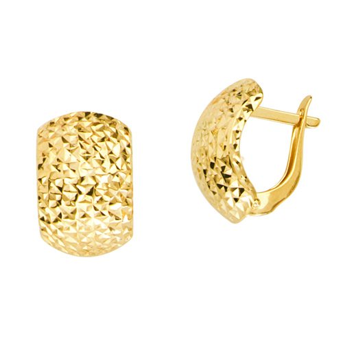 14kt Yellow Gold 1/2in Diamond-cut Puffed Hinged Earrings