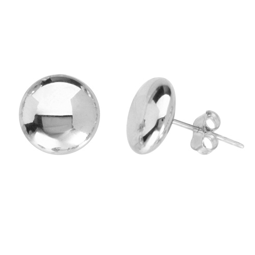 14kt White Gold 3/8in Flat Round Stud Earrings