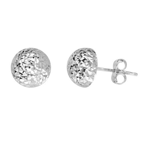 14kt White Gold Half Textured Ball Stud Earrings