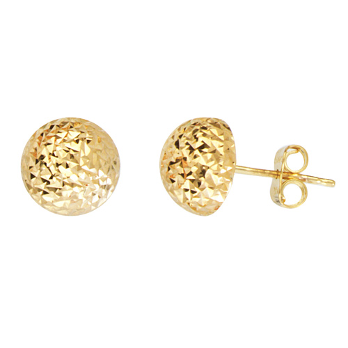 14kt Yellow Gold Half Textured Ball Stud Earrings