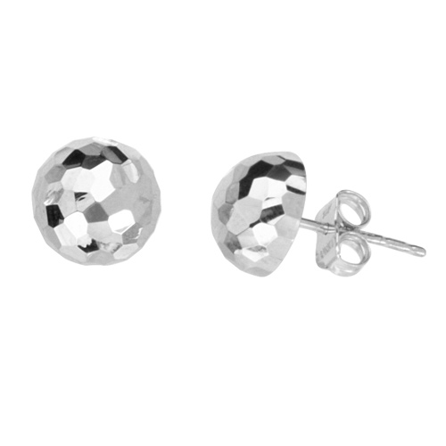 14kt White Gold Half Disco Ball Stud Earrings