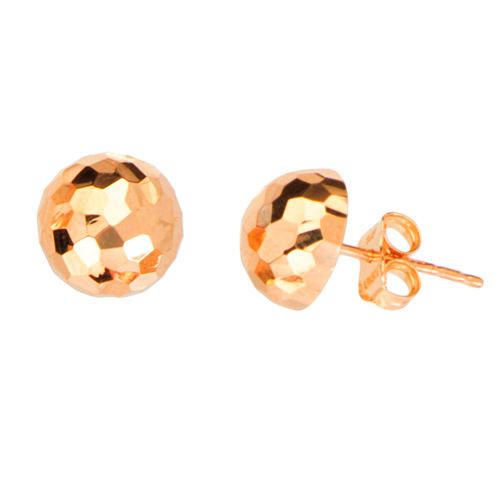 14kt Rose Gold Half Disco Ball Stud Earrings