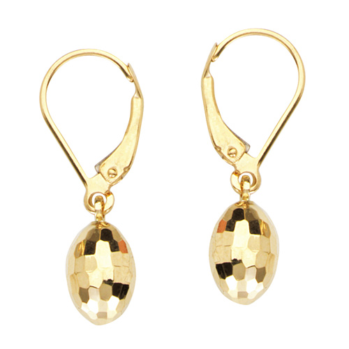 14kt Yellow Gold 7/8in Egg Dangle Lever Back Earrings