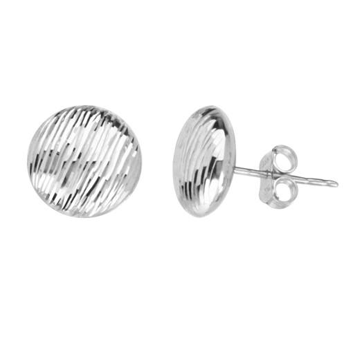 14kt White Gold 3/8in Flat Round Bark Stud Earrings