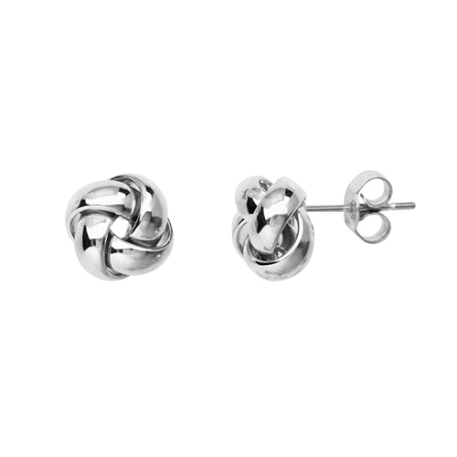 14kt White Gold 3/8in Puffed Love Knot Earrings