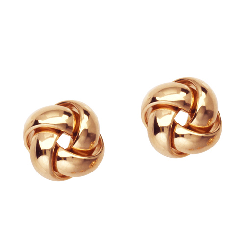 14kt Rose Gold 3/8in Puffed Love Knot Earrings