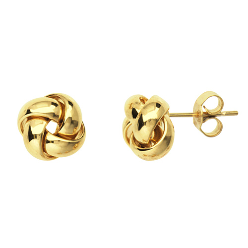 14kt Yellow Gold 3/8in Puffed Love Knot Earrings