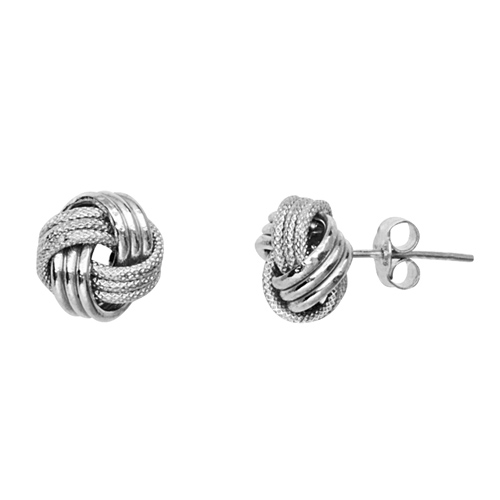 14kt White Gold Textured 3-Row Love Knot Earrings