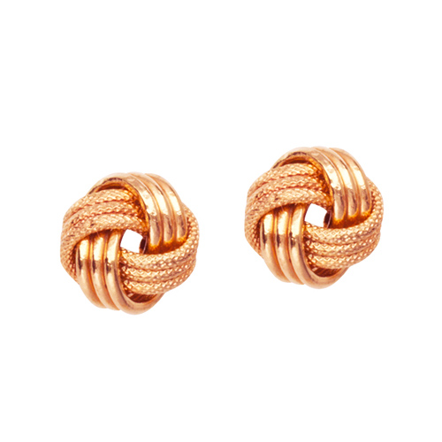 14kt Rose Gold Textured 3-Row Love Knot Earrings