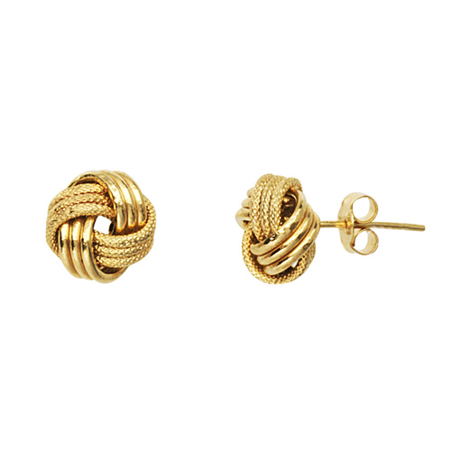 14kt Yellow Gold Textured 3-Row Love Knot Earrings