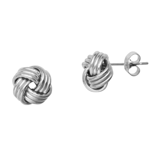 14kt White Gold Polished 3-Row Love Knot Earrings