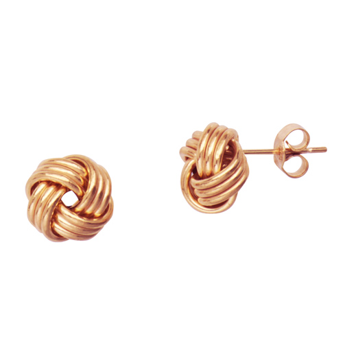 14kt Rose Gold Polished 3-Row Love Knot Earrings