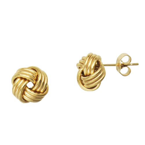 14kt Yellow Gold Polished 3-Row Love Knot Earrings