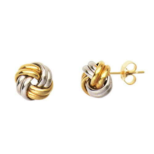14kt Two-tone Gold 2-Row Love Knot Earrings