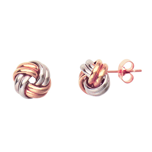 14kt White and Rose Gold Love Knot Earrings