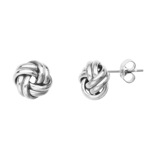 14kt White Gold 2-Row Love Knot Earrings