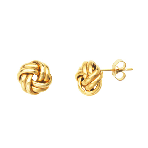 14kt Yellow Gold 2-Row Love Knot Earrings
