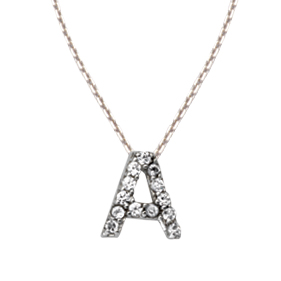 Sterling Silver Cubic Zirconia Mini Block A Necklace