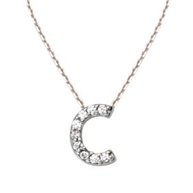 Sterling Silver Cubic Zirconia Mini Block C Necklace