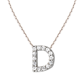 Sterling Silver Cubic Zirconia Mini Block D Necklace