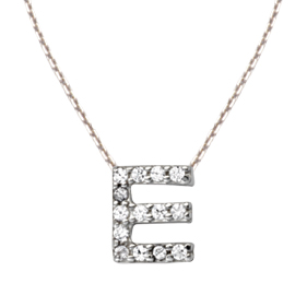 Sterling Silver Cubic Zirconia Mini Block E Necklace