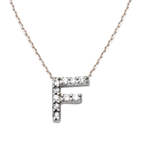 Sterling Silver Cubic Zirconia Mini Block F Necklace