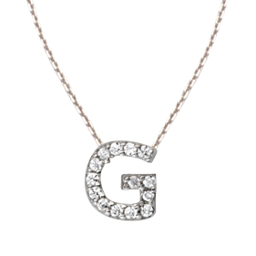 Sterling Silver Cubic Zirconia Mini Block G Necklace
