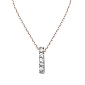 Sterling Silver Cubic Zirconia Mini Block I Necklace